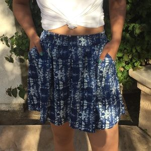 Navy Blue Patterned Skirt with Pockets